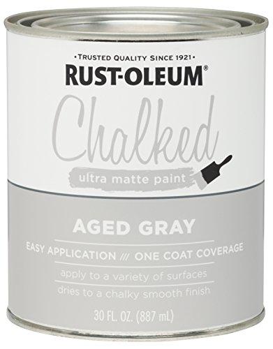 Rust-Oleum 285143 Ultra Matte Interior Chalked Paint 30 oz, Aged Gray