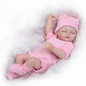 Pinky Reborn Baby Dolls Mini 10 Pulgadas Cuerpo Completo Silicona Vinyl Sleeping Reborn Babies Doll Girl Realista Nuevo Renacido Niño Pequeño para Niños Cumpleaños Playmate Growth Partner (Pink)