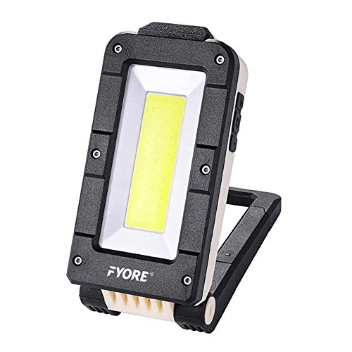 Fyore LED Work Light Rechargeable COB Inspection Lamp Magnetic Work Light,Magnetic Base & Hanging Hook, 4 Lighting Modes, Job Site Lighting for Car Repairing, Camping, Backpacking,Hunting