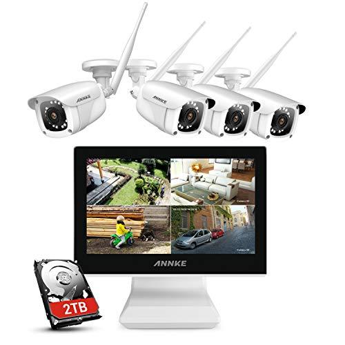 ANNKE 4CH 1080P FHD Sistema di Videosorveglianza NVR Wi-Fi con Monitor LCD da 10.1' Sistema Plug e Play Videocamere IP Bullet 1080P Visione Notturna IR Accesso Remoto 2TB HDD