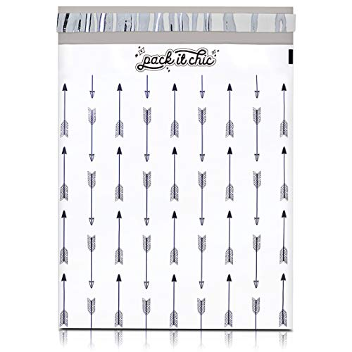 Pack It Chic - 10X13 (100 Pack) Arrows Pattern Poly Mailer Envelope Plastic Custom Mailing & Shipping Bags - Self Seal