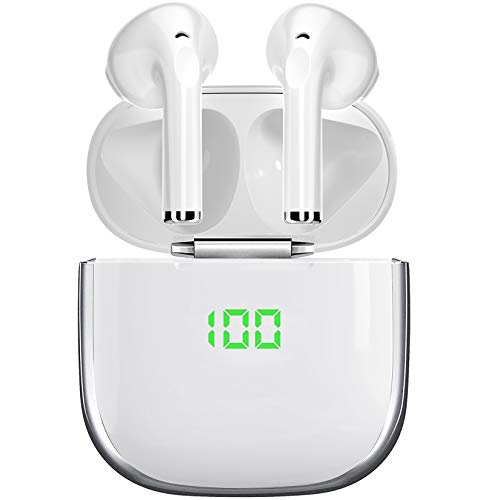 Écouteurs Bluetooth 5 sans Fil Stéréo, Oreillettes Intra-Auriculaires 30h Indicateur de Batterie Assistant Vocal pour iOS Android Telephone Portable PC TV (Blanc)