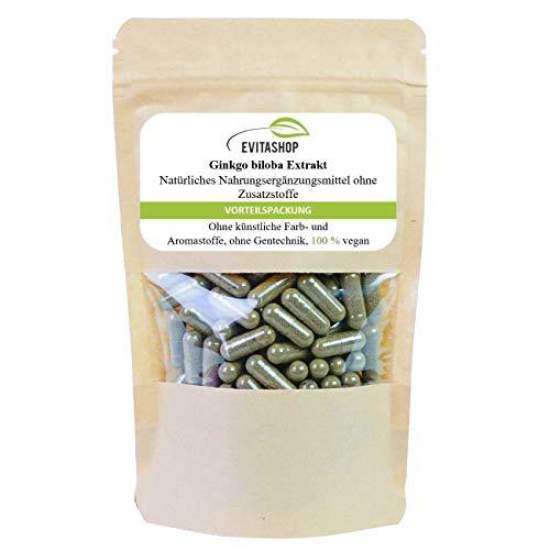 Ginkgo Extrakt Kapseln (Ginkgo biloba) | 1 Packung = 60 x 300 mg | Ohne Zusatzstoffe | 100% vegan | Hochdosiertes Extrakt | GMP-zertifiziert | Made in Germany