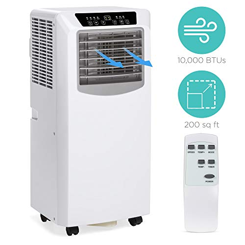 Best Choice Products 10,000 BTU 3-in-1 Air Conditioner Cooling Fan Dehumidifier w/Remote Control, 200 SqFt Capacity