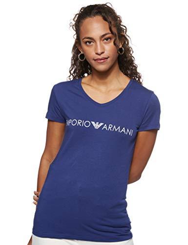 Emporio Armani T-Shirt Maglietta Donna Manica Corta Scollo V Cotone Stretch Articolo 163321 0P317, 15434 Blu Indaco - Indigo Blue, XS