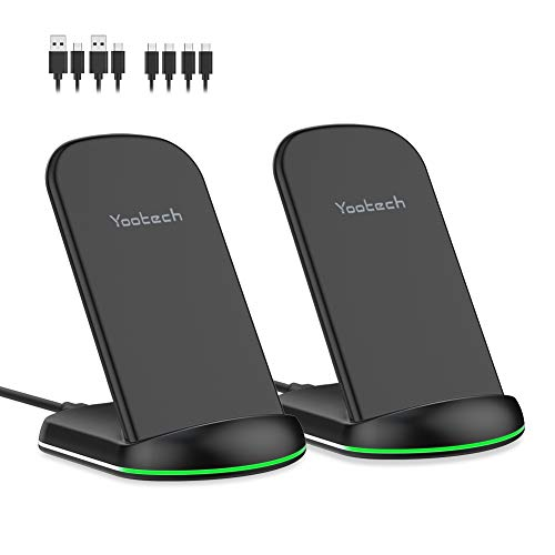 yootech Wireless Charger 10W,2-Pack Qi Fast induktive Ladegerät Wireless Ladestation induktion für iPhone 11/11 Pro/11 Pro Max/XS MAX/XR/XS/X/8/8 Plus,Galaxy S20/Note 10/S10/S9/S9 Plus/Note 8/S8 etc.