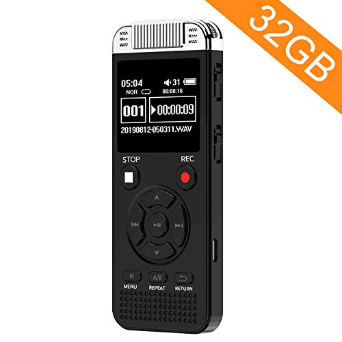 32GB Digital Voice Recorder, Homder Voice Activated Recorder for Lectures Meetings Class, 1536kbps Small Audio Recording Device with Playback - Rechargeable Dictaphone - Black