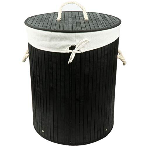 HRB Wäschekorb mit Deckel Bambus in schwarz, Wäscheaufbewahrung mit herausnehmbaren Wäschesack aus Baumwolle, faltbar, Wäsche Sortierer mit einem Ø 40 cm (Schwarz)
