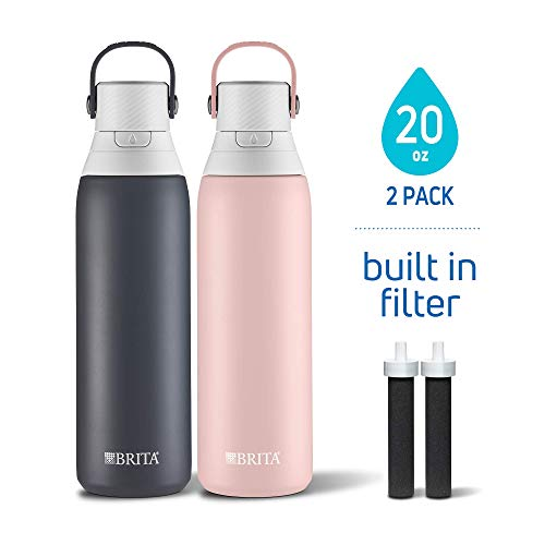 Brita 20 Ounce Premium Double Wall Insulated Stainless Steel Filtering Water Bottles, 2 Pack, Carbon Black/Rose