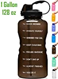 Venture Pal Large 1 Gallon/128 OZ (When Full) Motivational BPA Free Leakproof Water Bottle with Straw & Time Marker Perfect for Fitness Gym Camping Outdoor Sports-Black