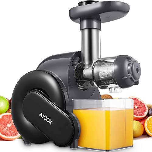 Estrattore di Succo a Freddo, Aicok Estrattore di Frutta e Verduracon Motore Silenzioso, 2 contenitori e Spazzola per Succo più Nutriente, Funzione Anti-Intasamenti, senza BPA