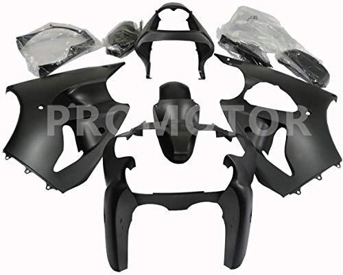 ZXMT Motorcycle Fairing Kit for Kawasaki Ninja ZX6R 636 2000 2001 2002/ Fits ZZR600 2005 2006 2007 2008 Matte Black (11 Pcs)