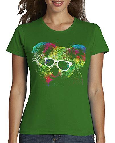 latostadora - Camiseta Koala Technicolor para Mujer Verde M