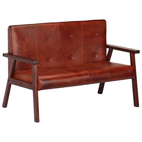 Nishore 2-Sitzer-Sofa | 2er Echtes Leder Couch | Wohnzimmer Ledersofa | Retro Loungesofa | Braun Echtleder und Massives Akazienholz 111 x 61 x 73 cm (B x T x H)