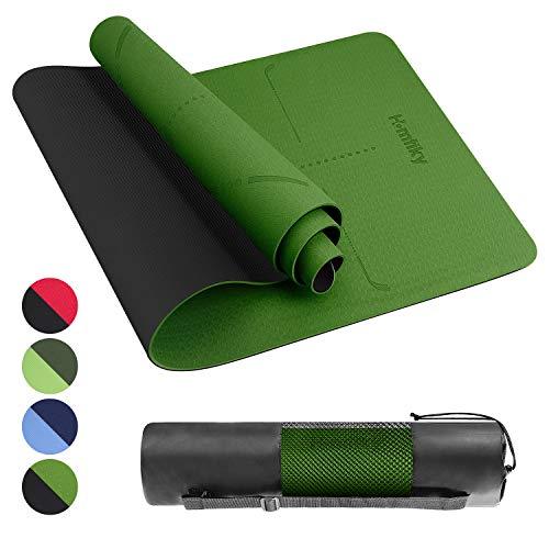 Homtiky Yogamatte Gymnastikmatte rutschfest Sportmatte mit Tragegurt(Grün)