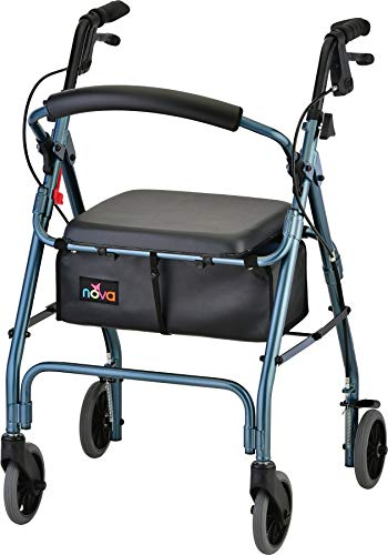 "NOVA GetGo Classic Rollator Walker (Standard Size), Rolling Walker for Height 5'4"" - 6'1"", Seat Height is 22.25"", Color Blue"