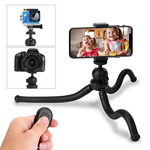 HOVNEE Trépied, Trépied Smartphone Parfaitement Adapté aux Téléphones Intelligents, aux Caméras de Sport, au Trépied Fflexible Mini avec Une Bluetooth, Plate-Forme de Rotation à 360 °