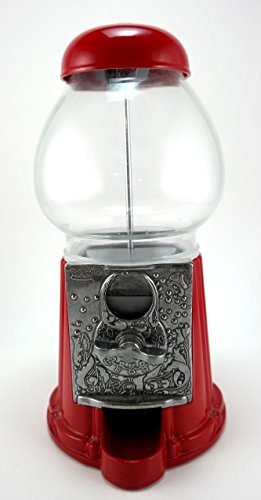 """Carousel King Gumball Machine Bank, 15"""" tall - Die cast Metal Glass Globe (15"""", Red)"""