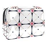 Bolsa de maquillaje portátil con cremallera bolsa de aseo de viaje para las mujeres práctico almacenamiento cosmético bolsa estrella al vapor pastel