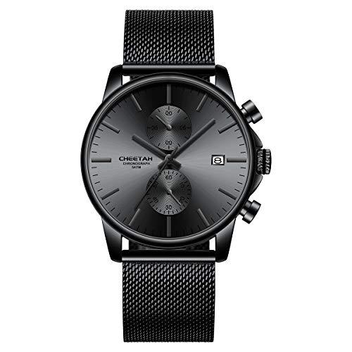 Herrenuhren Mode Sport Quarz Analog Schwarz Mesh Edelstahl wasserdichte Chronograph Armbanduhr, Auto Date (Schwarz Grau)