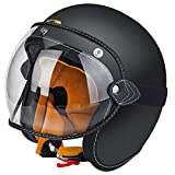 YUIEN Carbon Fiber Open Face Helmet-Unisex Adult Retro Style Motorcycle Helmet Goggle Available Only for Motorbike Scooter Moped,Large (Matte Black)