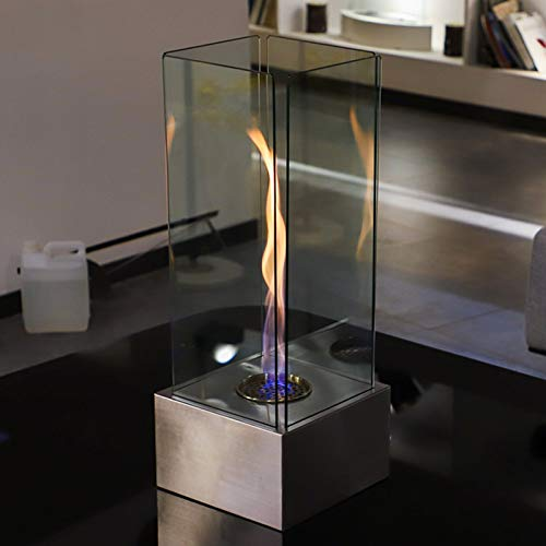 YITIE Freestanding Tabletop Ventless Bio Ethanol Fireplace - Regal Flame with Tornado Effect - Table Fire Lantern Garden Torch (0.6L)