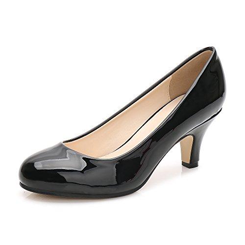 OCHENTA Femme Escarpins Talon Aiguille Hauteur 6 CM Chaussure Talon Moyenne Noir Verni Taille Asiatique 42-EU 41.5