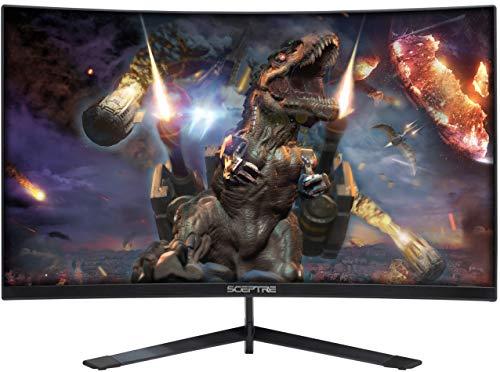 Sceptre 24' Curved 144Hz Gaming LED Monitor Edge-Less AMD FreeSync DisplayPort HDMI, Machine Black (C248B-144RN)