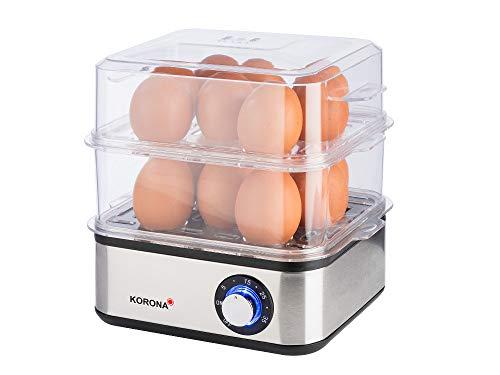Korona 25303 Edelstahl Mini Dampfgarer und Eierkocher | Kleiner Dämpfer für Gemüse | Profi Kocher für bis zu 16 Eier