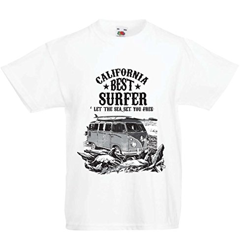 lepni.me Maglietta per Bambini/Ragazzi California Migliore Surfista - Vacanze estive in Spiaggia, Stile Surf, Furgone, Viaggio Design (3-4 Years Bianco Multicolore)