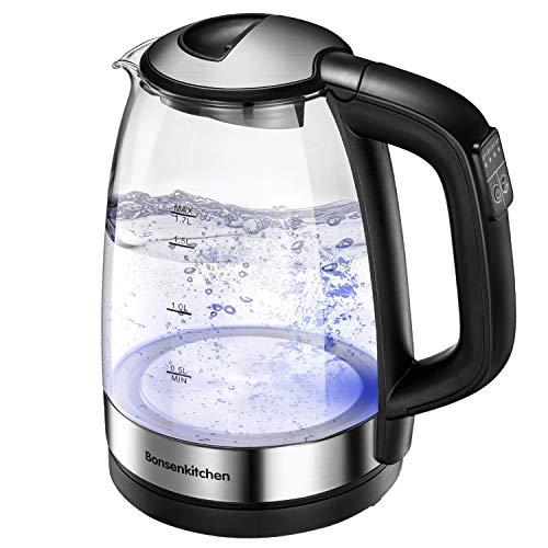 Bonsenkitchen Bollitore Elettrico in vetro, Temperatura Regolabile(50-100C), 1.7L, 2200W Ebollizione veloce, funzione di mantenimento caldo, con illuminazione a LED, Protezione Boil-dry