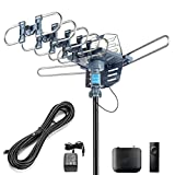 CeKay Digital Outdoor Amplified HD TV Antenna Motorized 360 Degree Rotation 150 Miles with 40FT RG6 Coax Cable Snap-On Installation - UHF/VHF/1080P/4K