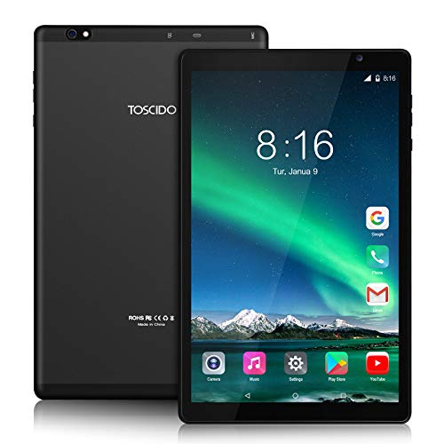 Tablet 10 Pollici 5G WiFi - TOSCIDO Android 10.0,1920x1200 HD IPS,Octa Core, 64G ROM, 4GB di RAM, 13MP e 5MP Camera, WiFi / Bluetooth5.0 / GPS, 6000 MAh, Tipo C - Nero
