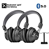 Avantree 2 Pack Bluetooth 5.0 Over Ear Headphones with Metal Dual Headphone Stand for Watching TV, aptX Low Latency, Wireless Headset with Mic for Home Office PC Computer Phones Calls - AS9PA Set