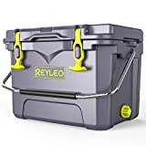 REYLEO Ice Chest   Portable Rotomolded Arctic Cooler Keeps Ice Up to 5 Days   Bear-Resistant 21-Quart Cooler (Built-in Bottle Opener, Cup Holder, Fish Ruler) for Camping, BBQs, Tailgating, Fishing