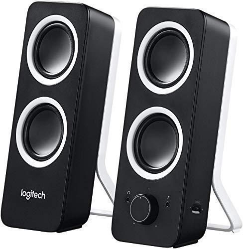 Logitech Z200 2.0 Lautsprecher mit Subwoofer, Surround Sound, 10 Watt Spitzenleistung, 2x 3.5mm Eingänge, Lautstärke-Regler, PC/TV/Smartphone/Tablet - Midnight Black/schwarz