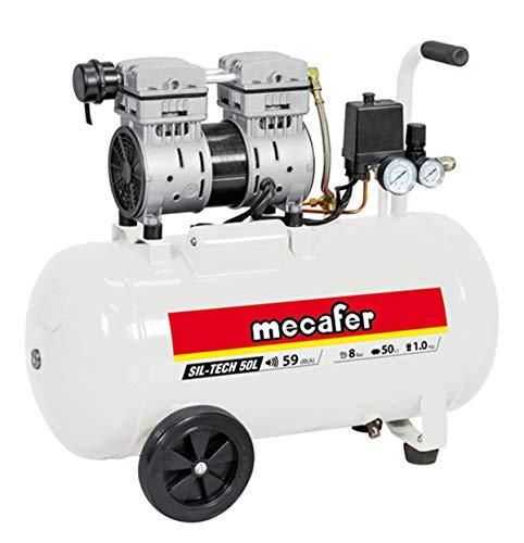 Mecafer 425543 Compresseur Silencieux 50L/1,3 HP/8 bar Blanc
