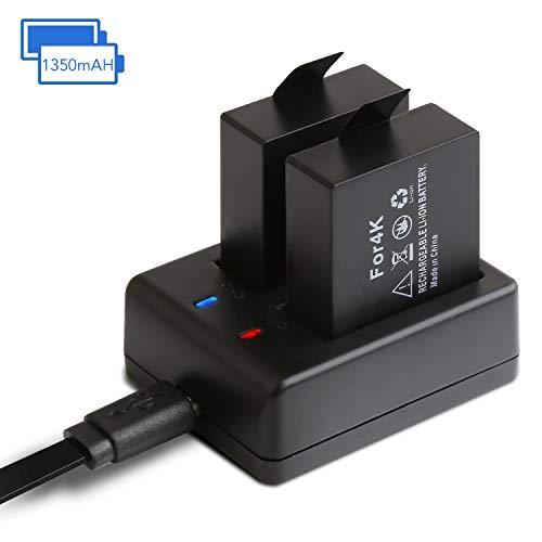 APEMAN Action Camera Batteria Ricaricabile 2 Pacco 1350mAh Batterie USB Batteria Caricabatterie Action Cam A66/A77/A80/A100