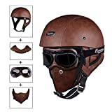 AA100 Vintage Motorcycle Helmet Open face Leather Harley Goggles Helmets/Helmets for Men Full face3/4 Adult Leather Half Helmet (Brown)