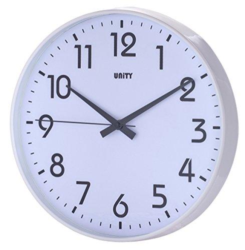 Unity Fradley-Orologio da Parete Moderno Senza ticchettio, 30,5 cm, Colore: Bianco, 30,5 (12')