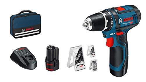 Bosch Professional 0615990GB0 GSR 12V-15 12V System Akkuschrauber (inkl. 2x 2,0 Akku, 39tlg-Zubehör-Set, in Tasche), 1 W, 12 V