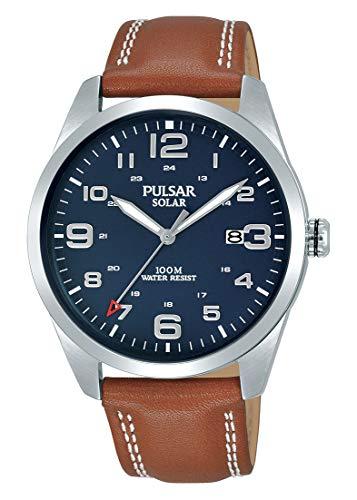 Pulsar Solar Herren-Uhr Edelstahl mit Lederband PX3189X1