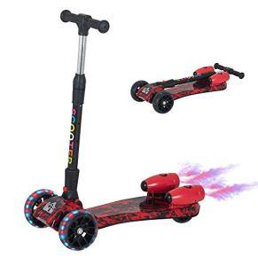 HOMCOM Patinete para Niños Scooter Plegable con Altura Ajustable de 4 Niveles y Música Luces y Nebulizador de Agua +3…