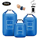 Gonex Waterproof Dry Bag Floating Roll-Top Dry Sack Stuff Sack Storage Bags for Kayaking Boating Canoeing Swimming Water Sports 4L+8L+12L with a Phone Pouch & Shoulder Strap Blue