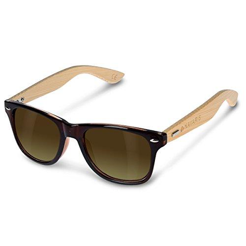 Navaris occhiali da sole in legno UV400 - occhiali con astine in bamb unisex uomo donna - con custodia vintage - diversi colori