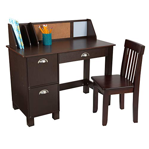 KidKraft Wooden Study Desk with Chair - Espresso, Drawers, Extra...