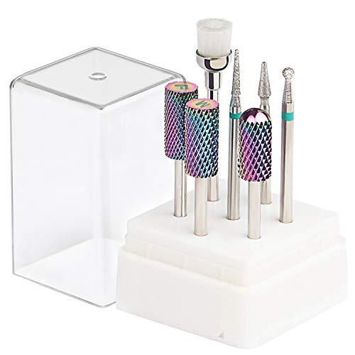 Tungsten Carbide Diamond Carbide Nail Drill Bits Set ECBASKET Nail File Bits 7pcs 3/32 inch for Acrylic Gel Nails Cuticle Manicure Pedicure
