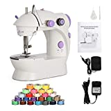 Liheya Sewing Machine Electric Mini Embroidery Machine Portable Sewing Kit with Dual Speed Double Thread (Purple)