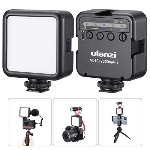 ULANZI VL49 2000mAh Luce video a LED 3 scarpe fredde Pannello ricaricabile a luce morbida per DJI OSMO Mobile 3 Pocket Zhiyun Smooth 4 Sony RX100 VII Canon G7X Mark III A6400 6600 per GoPro 8 Vlog