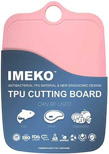 IMEKO TPU Cutting Board,BPA FREE,Knife Friendly,Flexible,Dishwasher Safe, Space Saving,Ergonomic Design, Chopping Mat. (PINK-Size: Medium 13.7' x 9.4'- W: 10 oz.)
